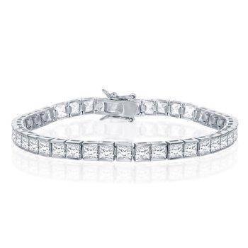 Sterling Silver 4mm Square Princess Bezel-Set CZ Tennis Bracelet