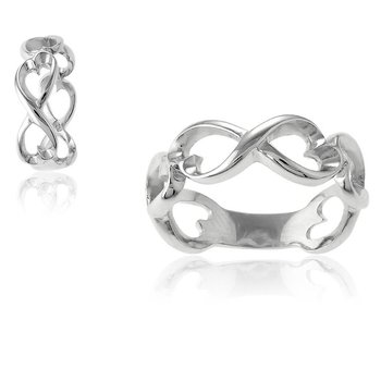 - Sterling Silver Open Heart Infinity Ring Band