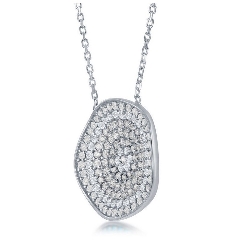 Fashion Jewelry Collection Sterling Silver CZ Irrigular Disc Circle Chain Necklace