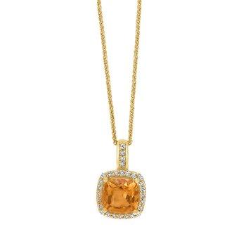 - 14k Yellow Gold 0.11Ctw. Diamond Halo and 0.79Ct. Citrine Gemstone Fancy Chain Pendant