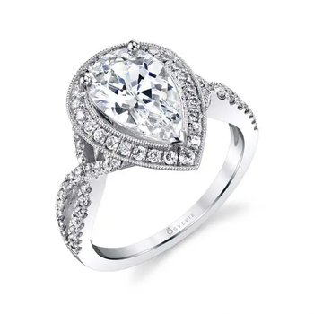 - Halo Pear-Shaped Diamond Accented Spiral Semi-Mount Engagement Ring and Wedding Band