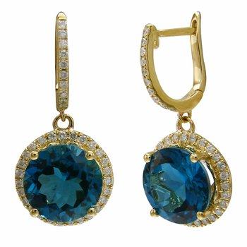 - 14k Yellow Gold 0.44Ctw. Diamond Halo and 8.12Ctw. London Blue Topaz Gemstones Drop Latch Back Earrings