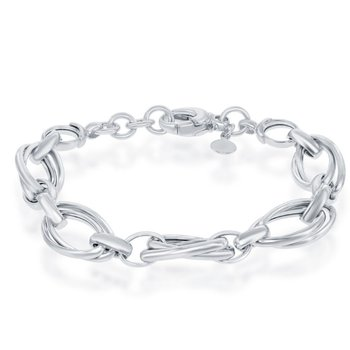 "- Bella Moda Sterling Silver Double Oval High Polished Link Chain Bracelet - 7.50"""