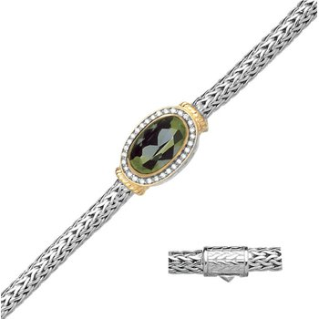 """- Sterling Silver Mesh Center Oval Green Color CZ and White CZ Bracelet - 7.50"""""""