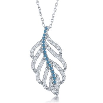 "- Sterling Silver Torquoise & CZ Open Leaf Design Pendant 16"" Chain Necklace"