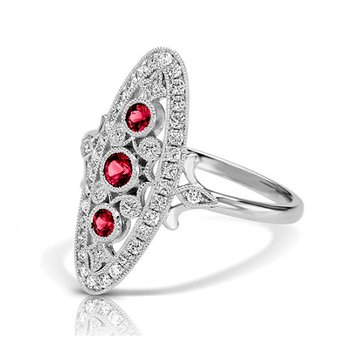 - 1/4ctw. Diamonds & 1/3ctw. Ruby Round Gemstones 14k Gold Vintage-Inspired Right Hand Ring