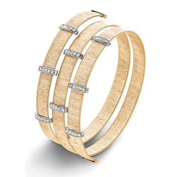 0.50ctw. Diamond 14k Two Tone Yellow/White Gold Spiral Cuff Bangle Bracelet