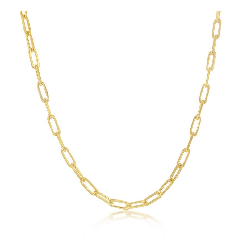 Fashion Jewelry Collection  - Sterling Silver 2.8mm Paper Clip Style Chain Anklet/Necklace