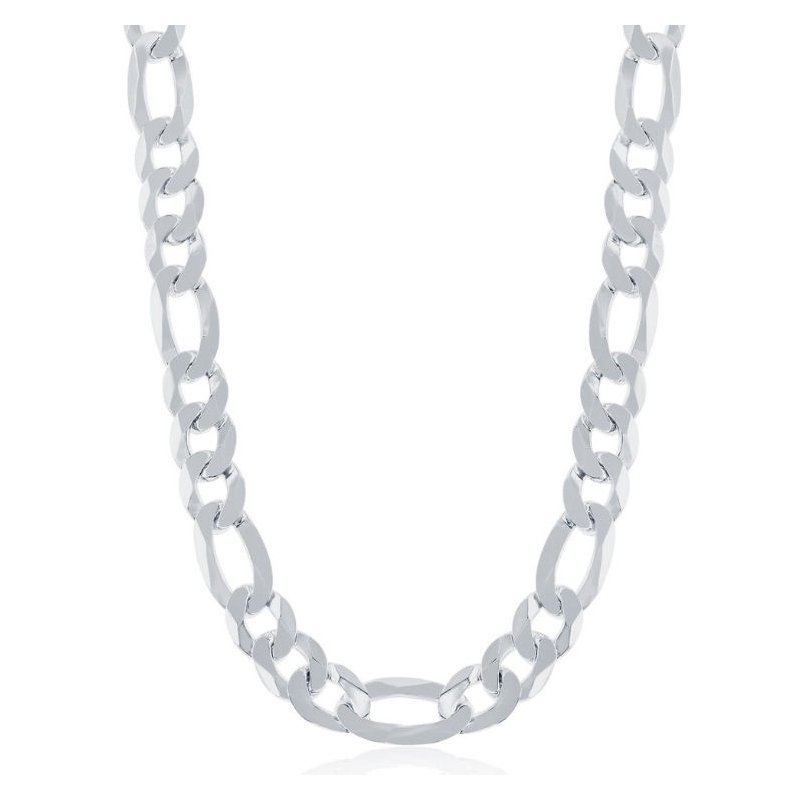 Fashion Jewelry Collection  - Sterling Silver 8.6mm Figaro Chain Bracelet/Necklace