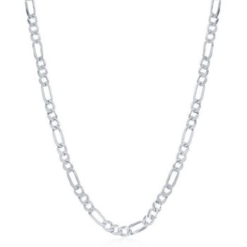 - Sterling Silver 4.2mm Figaro Chain Necklace for Men