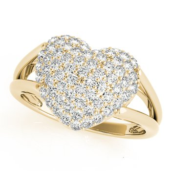 - 0.50ctw. Diamond Pave Cluster Heart Ring