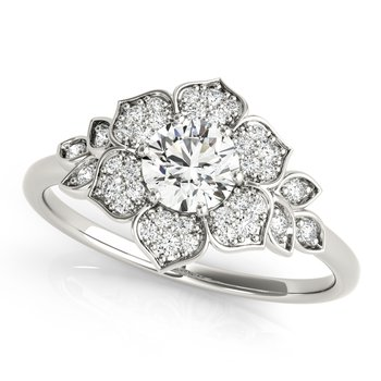 Round Floral Accented Diamond Engagement Ring