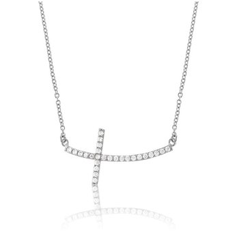 Sterling Silver CZ Curved Sideways Cross Chain Necklace