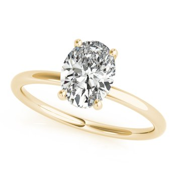 Solitaire Oval Diamond Accented Engagement Ring