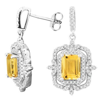 - Bellissima Sterling Silver Citrine and White Topaz Gemstones Dangle Drop Earring Pair