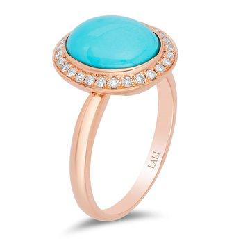 - 14k Rose Gold Turquoise Gemstone and Halo Diamond Cocktail Ring