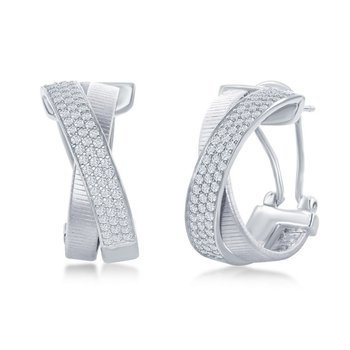 - Italian Collection White CZ Stones Sterling Silver Huggie Omega Clip Earring Pair