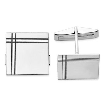 14k White Solid Gold 17mm Square Grooved Design Engravable Personalized Men's Cuff Links