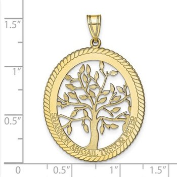 14k Gold Personalized 34x27mm Oval Four Names Family Tree Pendant