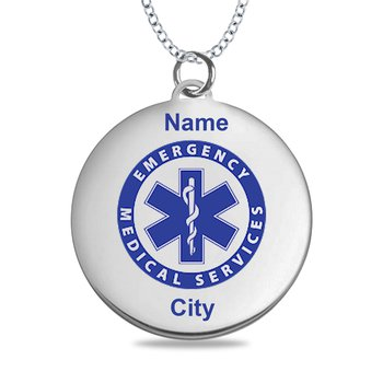 - Sterling Silver 25x28mm Round Logo Art Engravable Customized Pendant