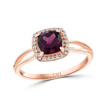 - 14k Rose Gold 0.09Ctw. Diamond Halo and 1.21Ct. Garnet Gemstone Fancy Cocktail Ring