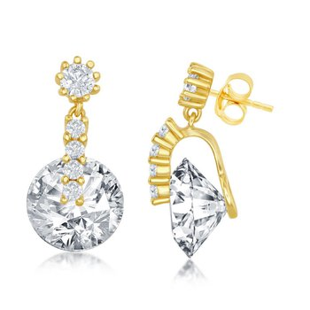 Sterling Silver Round Spinning CZ Stud Earrings Pair