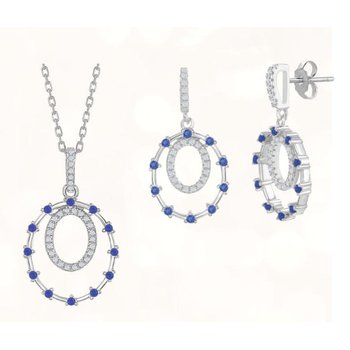 Sterling Silver Double Circle Color CZ Dangle/Drop Earrings and Pendant Set
