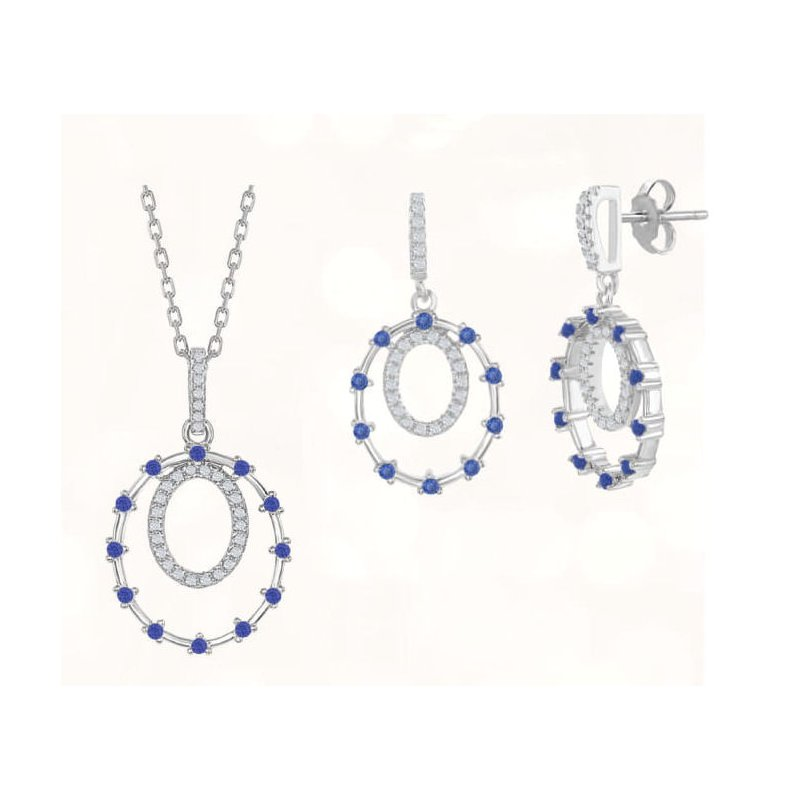 Fashion Jewelry Collection Sterling Silver Double Circle Color CZ Dangle/Drop Earrings and Pendant Set
