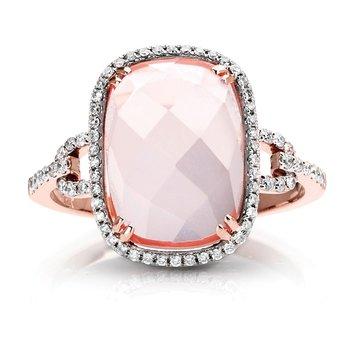 1/5ct. Diamond & Pink Quartz Gemstone 14k Rose Gold Right Hand Ring