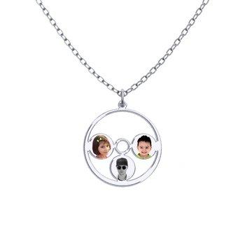 - Round Customized Engravable Three Photo Picture Pendant