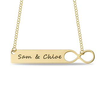 - 40x8mm Engravable Infinity Bar Name Plate Customized Necklace