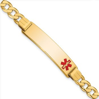 14k Yellow Gold Solid Engravable Red Enamel Curb Link Chain Medical Alert ID Bracelet