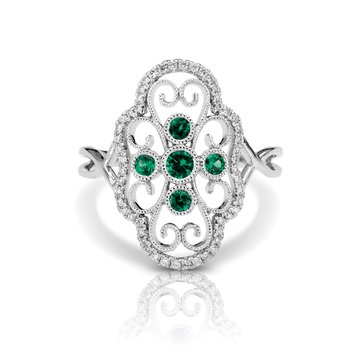 - 1/6ctw. Diamonds & 1/5ctw. Emerald Round Gemstones 14k Gold Vintage-Inspired Right Hand Ring