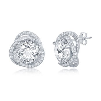 - Sterling Silver Set with 12mm CZ Stones Accented Earring Pair