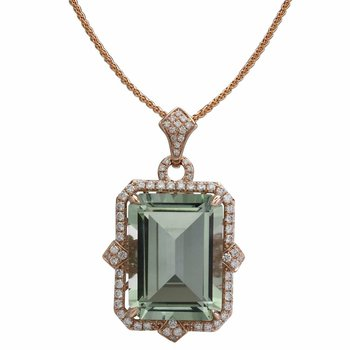 """- """"Limited-Edition"""" Collection 14k Rose Gold Diamond and Green Amethyst Gemstone Chain Pendant"""