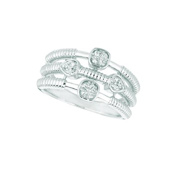 14K White Gold 0.14ctw. Diamond Square & Pear Cluster Negative Space Cocktail Anniversary Band Ring