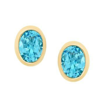 - 14k Yellow Gold 2.52Ctw. Swiss Blue Topaz Gemstone Stud Earrings