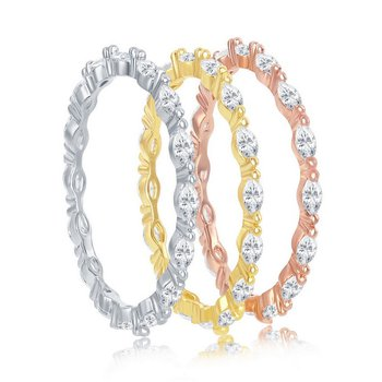 Sterling Silver 14k Gold Plated Tri-Color Marquise CZ Eternity Stackable Triple Ring Band