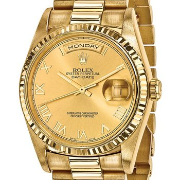 : Pre-Owned Independently Certified Rolex 18k Yellow Gold Men's Day-Date President with Champagne Roman Numerals Dial