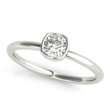 Solitaire Bezel-Set Cushion 1/3ct. Diamond Anniversary Stackable Ring Band
