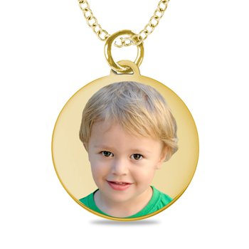 - Small Round Laser Enameled 18x20mm Customized Engravable Photo Picture Pendant