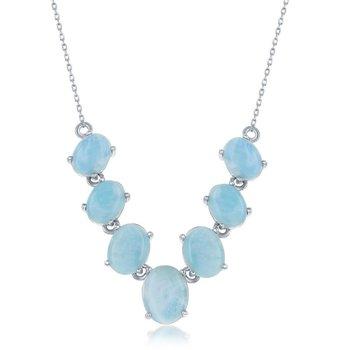 "- Caribbean Treasures Sterling Silver Graduated Oval Larimar Gemstones Necklace - 16"""