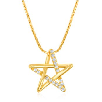 "Sterling Silver Cubic Zirconia CZ Star Pendant 18"" Chain Necklace"