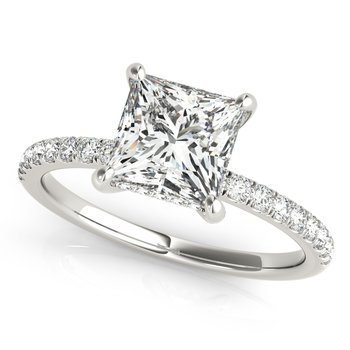 Princess Square Shaped Diamond Accented Engagement Ring