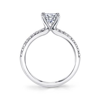 - Classic Solitaire Round-Shaped Diamond Accented Semi-Mount Engagement Ring