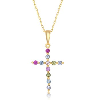 Sterling Silver Multi-Color Rainbow CZ Cross Pendant