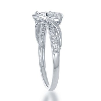 - 1/6ctw. Diamonds 2-Stone Illusion Setting Accented Sterling Silver Engagement Ring