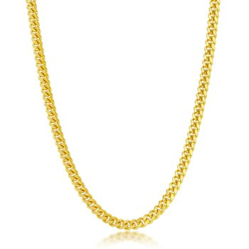 - Sterling Silver 14k Yellow Gold Plated Solid 4mm Miami Cuban Chain Necklace