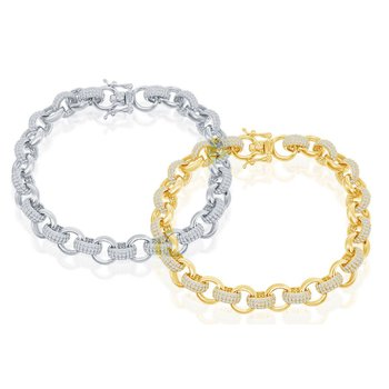 Sterling Silver CZ Links and Polished Links Chain Bracelet