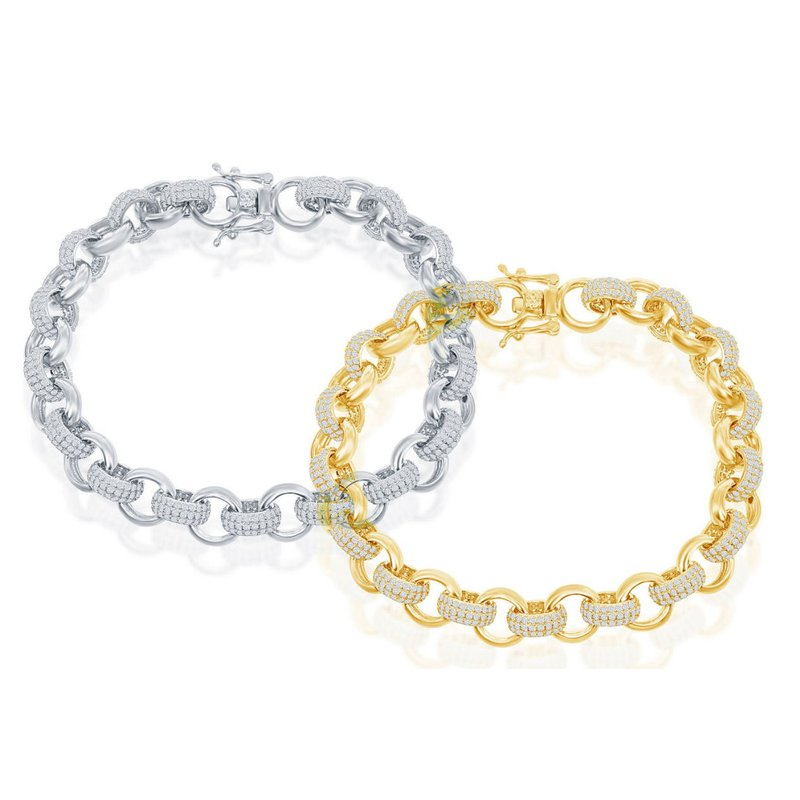 Fashion Jewelry Collection Sterling Silver CZ Links and Polished Links Chain Bracelet